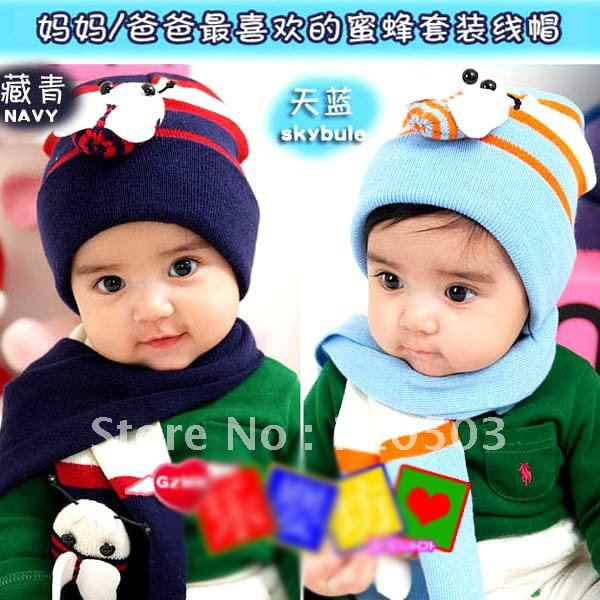 Beatles winter baby cap children hat+scarf two piece set Toddler hat and scarf(China (Mainland))
