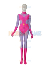 2015 Newest Pink & Purple female halloween cosplay spandex Superhero Costume the most popular show zentai suit free shipping
