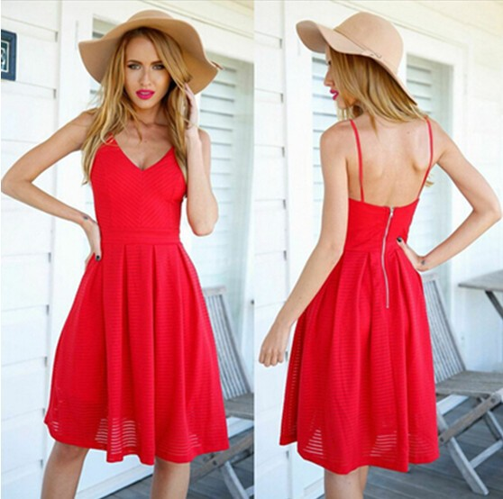 2015 European and American style Hot Sexy Slim V-neck halter strapless red mini-dress in fashion dress sling(China (Mainland))