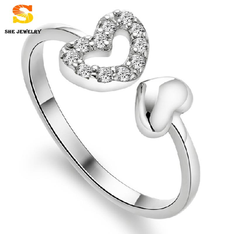 New 925 sterling silver rings for women Crystal Jewelry Fine Fashion Double Heart Opening Lord Crystal Jewelry wedding rings(China (Mainland))