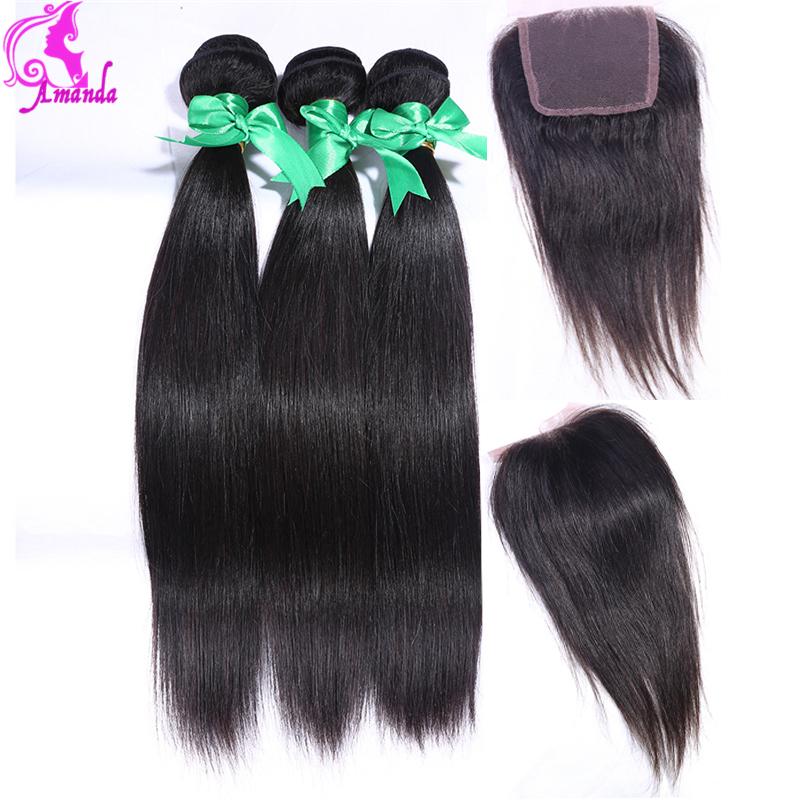 7A Unprocessed Virgin Hair  Malaysian Straight Hair 3 Bundles With Silk Base Closure Unice Hair Straight Human Hair  Weave<br><br>Aliexpress