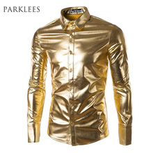 Buy Night Club Wear Men's Elastic Shirts Slim Fit Fashion Metallic Shiny Shirt Mens Shirts Long Sleeve Chemise Homme Clothing for $12.14 in AliExpress store