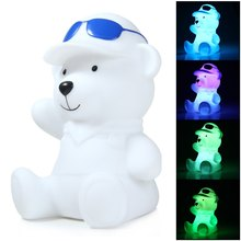 Brand New LED Night Bear Santa Claus Dog Design Cartoon Lamp Decorative Lighting With Rainbow White Light Gifts For Kids Novelty(China (Mainland))