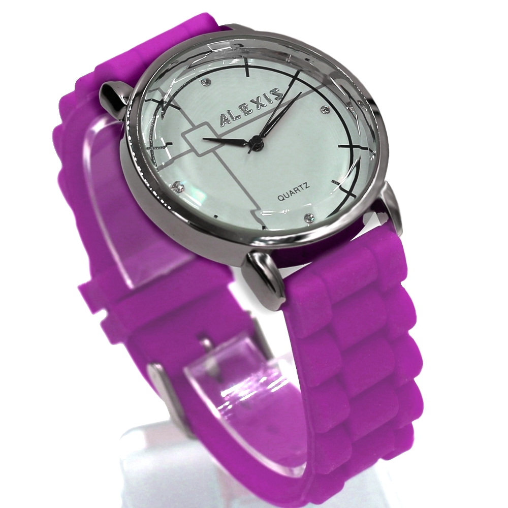 Analog Fashion Wrist Ladies Watches White Dial PNP Shiny Silver Watchcase Silicone Jelly Rubber Purple Color Band FW824K(China (Mainland))