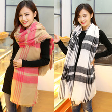 b brand Unisex Women Men Warm Blanket Large Oversized Tartan Scarf Wrap Shawl Bufandas Plaid Cozy Checked Pashmina Scarves Q46