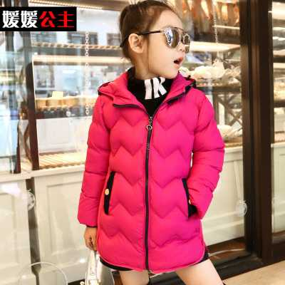 Kids Warm Winter Coat Fashion Baby Girls Down Jacket Pure Colour Children Coat With Cap Hooded Kids Outerwear H6177