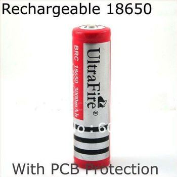 Promotion+ 100 pcs/lot Ultrafire 18650 Rechargeable Lithium lon 3000mAh battery PCB protected for LED torch/flashlight