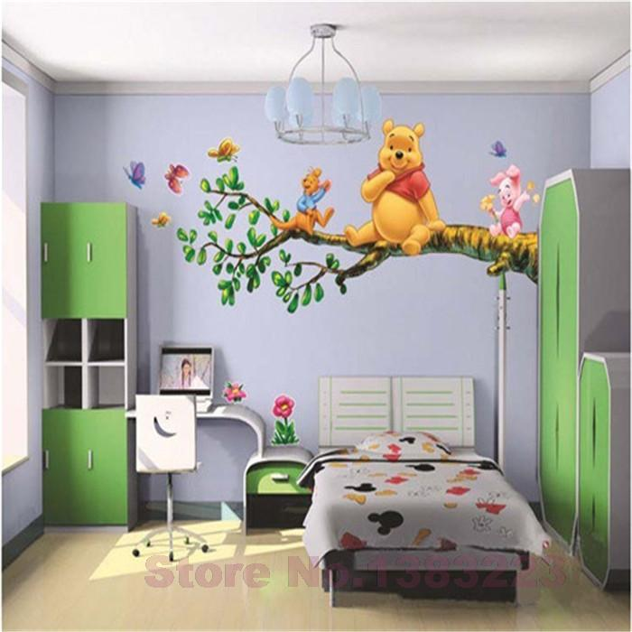 Animal cartoon Winnie Pooh vinyl wall stickers for kids rooms boys girl home decor wall decals home decoration wallpaper kids(China (Mainland))