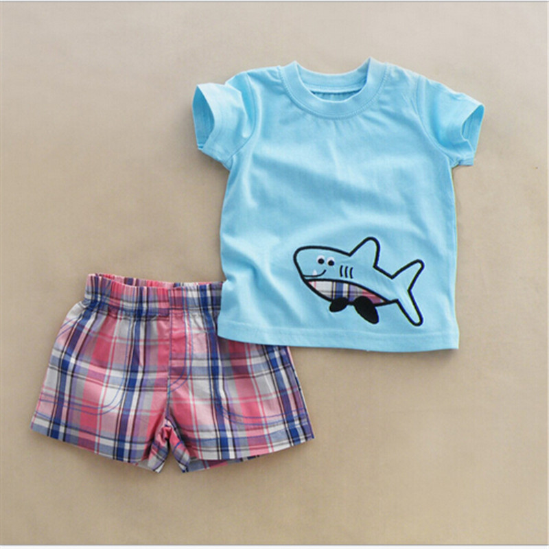 2016 simple design solid color baby shorts with t-shirts sets summer child clothes boys home pant and shirts kids cartoon clothe(China (Mainland))