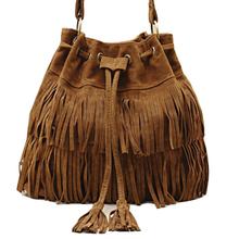 2017 New Suede Drawstring Bucket Bag Fashion Tassel Shoulder Bags Women Handbag Faux Fringe Crossbody Messenger Bag For Female(China (Mainland))
