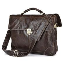 Free Shipping High Quality Selection Vintage 100% Guarantee Genuine Leather Men Briefcase Portfolio Messenger Bags #MW140105