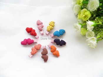 MIX colors Free shipping (20pcs/lot) baby ribbon hair clip covered love heart  with dot hairpin Children's hair hairband