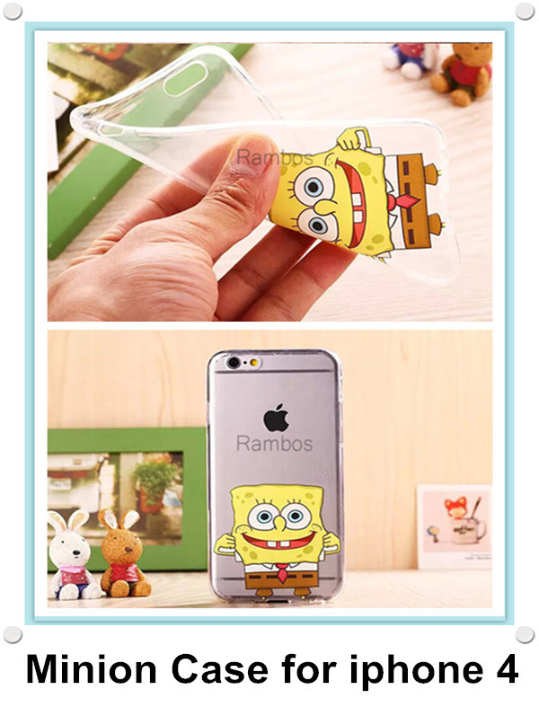 Cute Soft Cartoon Case Crystal Clear Cell Phone Cover Skin for iphone 4 4s/5 5s/ 6/6 Plus for HTC One M8(China (Mainland))