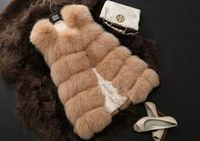 2015 New Arrival  Winter Warm Fashion Women Faux Fur Vest Faux Fur Coat Fox Fur Long Vest Colete Feminino plus size 3XL 4XL(China (Mainland))