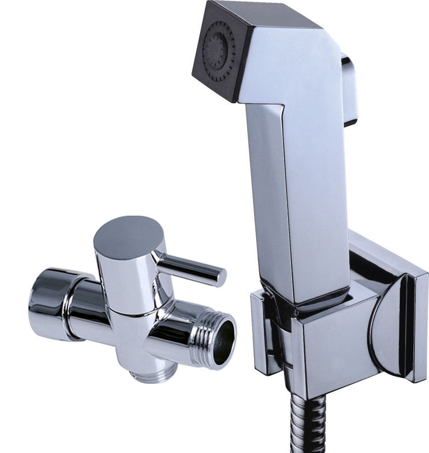"High quality ABS HandHeld Bidet Sprayer Toilet Shattaf 1.5m stainless steel Hose Wall Bracket 7/8""T-adapter Set(China (Mainland))"