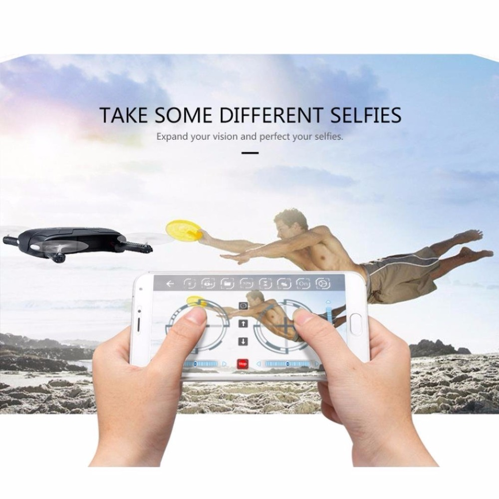 Upslpn JJRC H37 Pocket Selfie Drone Quadcopter Pocket Fold Portable Photography Wifi FPV With 0.3MP Camera Phone Control RC Dron