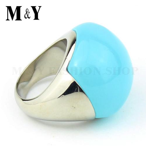 Women luxury ring 316L stainless steel shiny polish elegant light light blue opal ball stone ring for women gift ring TTR50(China (Mainland))
