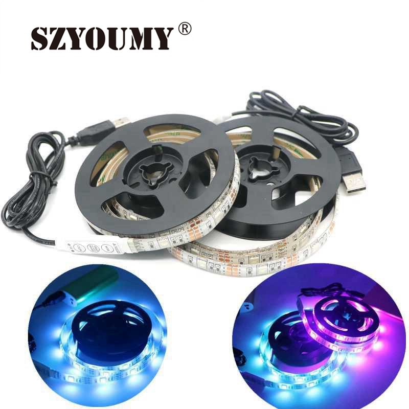 50CM 1M 2M USB LED Strip Light 5V 5050 SMD Waterproof RGB Warm/Cool Flexible TV Background Lighting Strip USB