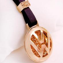 2015 New Fashion Key Rings Volkswagen Logo Keychain Genuine Leather With Luxury Gold Plated Pendant Vw Car Keychain Emblems(China (Mainland))