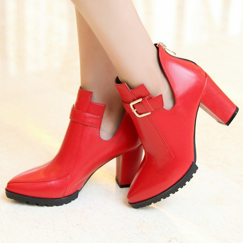 new hot sale fashion red black ankle boots pointed toe high square heels women shoes buckle zip soft natural leather boots<br><br>Aliexpress