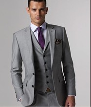 Free shiping ! Hot 2016 western style men business suits brand dress suit for men's Light Grey Suits(Jacket + pants +vest+Tie)(China (Mainland))
