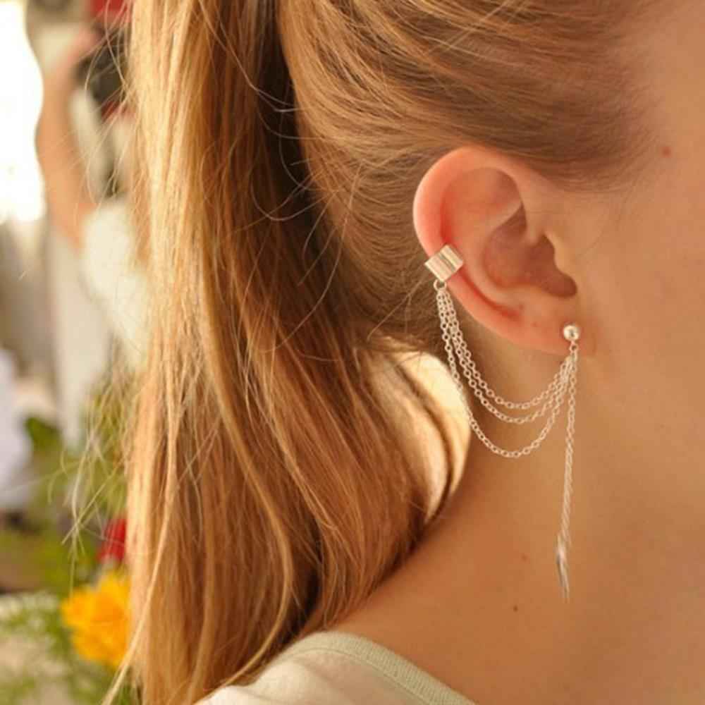 Women Girl Stylish Punk Rock Leaf Chain Tassel Dangle Ear Cuff Wrap Earring sterling silver and golden earrings in jewelry 1 pcs(China (Mainland))