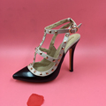 Nude Black Patent Leather T strap Rivets Ladies Pumps Shoes Stilettos Shoes Pointed Toe High Heels