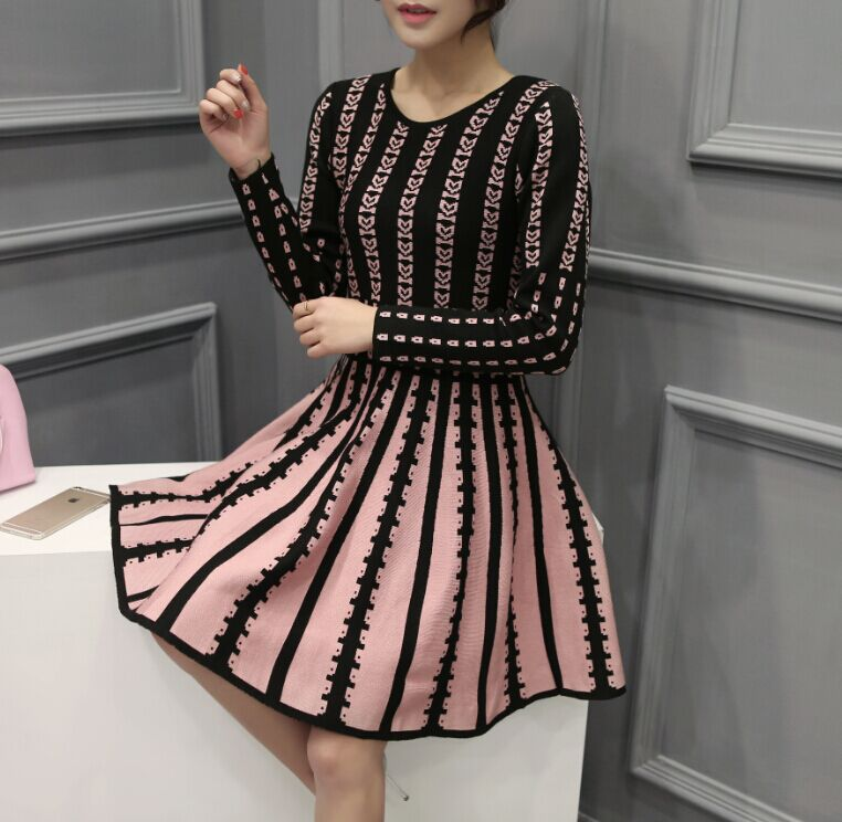 2016 NEW design girls slim dresses pleated office lady working casual long sleeve knitted dress women fashion plus size XL #H644(China (Mainland))
