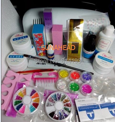 Professional Full Set UV Gel Kit Nail Art + 9W Curing Lamp Dryer Curining