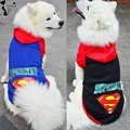 Large Pet Dog Clothes Superman Big Dog Coat Jacket With Hooded Sport Golden Retriever Clothing Winter
