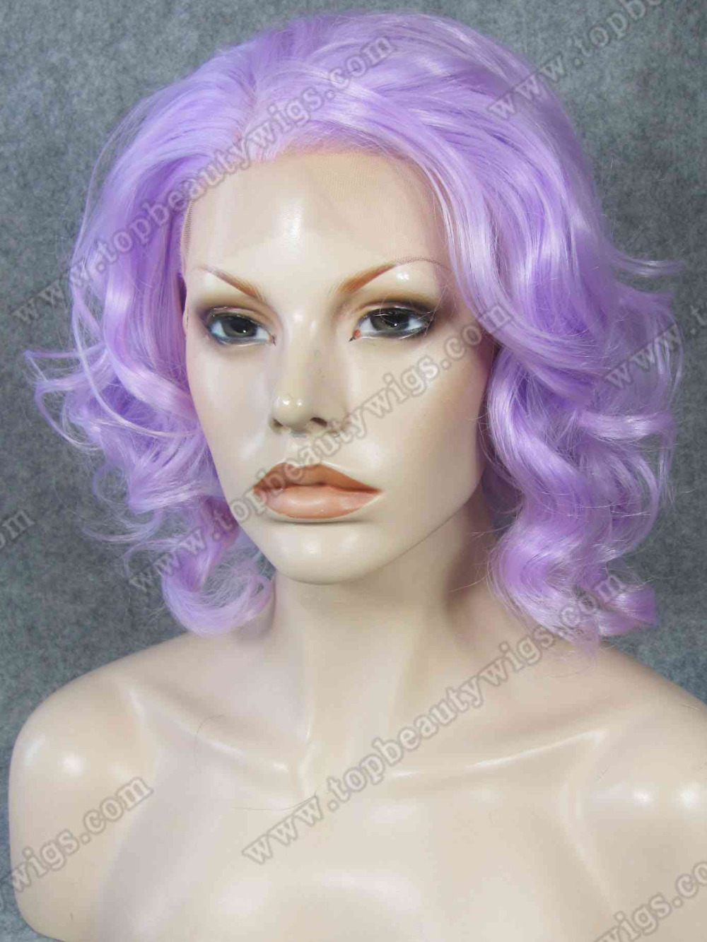 N20-2403A Top fashion and best sale Violet purple Elegent Curly Synthetic Lace Front Wig costume wigs<br><br>Aliexpress