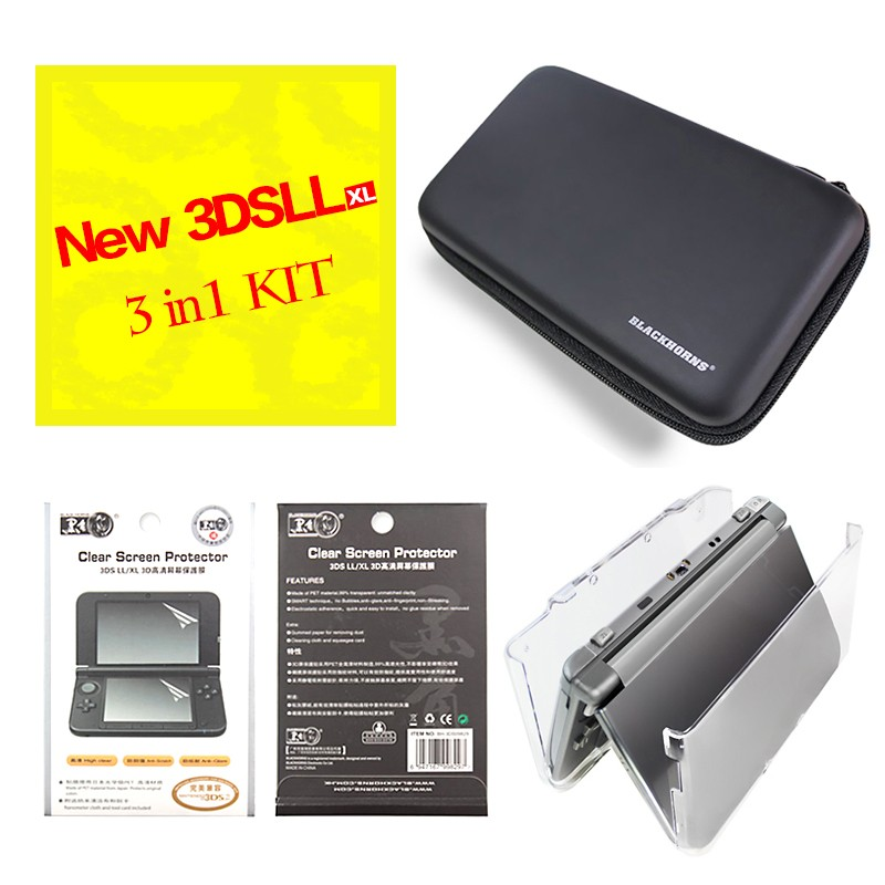 For New 3DS LL  ( Travel Hard Case Carry bag Pouch + One sofe TPU shell case cover + Film Screen Protector)