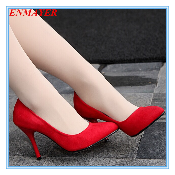 ENMAYER Flock Pointed Toe 2015 women pumps Black Red Blue / Light Green shoes women fashion wedding shoes Platform pumps<br>