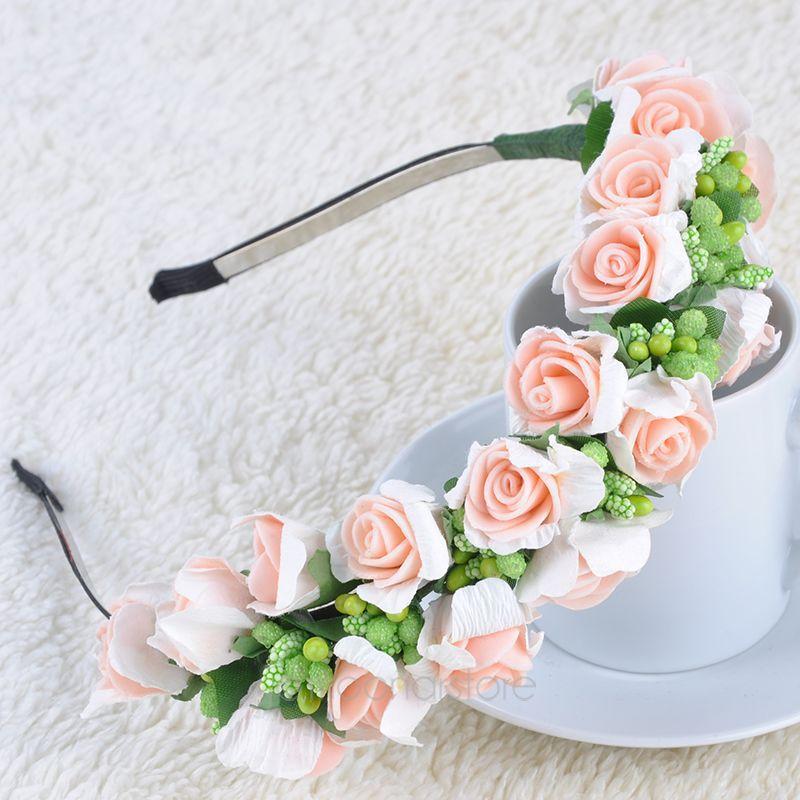 Womens Fashion Hair Wreaths Boho Women Wedding Party Flower Headband Hairband Headdress Pink/White MHM049*70(China (Mainland))