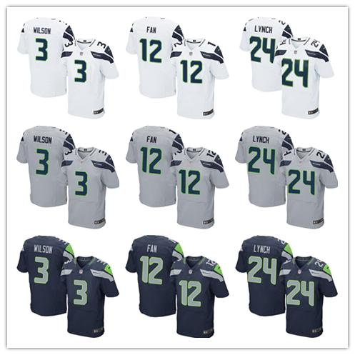 2016 elite Men Seattle Seahawks #3 Russell Wilsons #12 Fan #24 Marshawn Lynch navy grey white green, 100% stitched logo(China (Mainland))