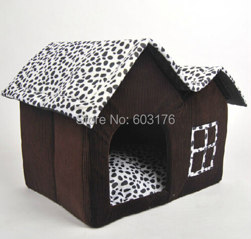 Indoor Warm Pet Dog House Cow Double Roofs Portable Dog Cat Kennel Puppy Dog Bed Large House for Pet(China (Mainland))