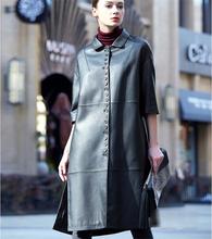 New Spring Autumn Fashion Women Genuine Leather Coat Sheepskin Long Jacket Female Slim Trench Coat Parka 20160303-6(China (Mainland))