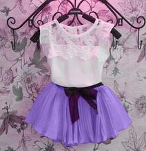 New 2016 children clothing set baby kids girl s chiffonsummer kid beautiful vetidos infants costume