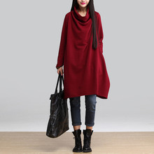 New 2016 Autumn And Winter Fashion Turtleneck Long Sleeve Loose Casual Dress Women Thicken Cotton Dresses Plus Size H350(China (Mainland))