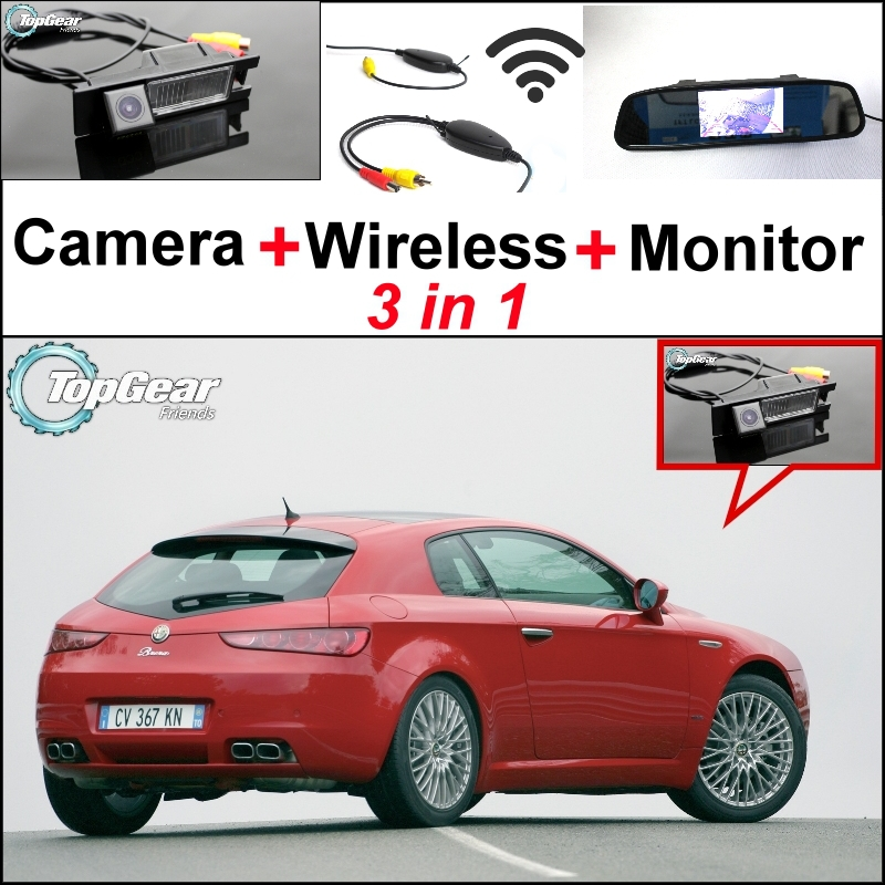 3 in1 Special WiFi Rear View Camera + Wireless Receiver + Mirror Monitor EASY DIY Parking System For Alfa Romeo Brera Spider(China (Mainland))