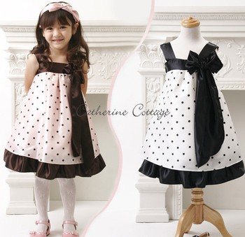 Retail!!2013 Hot selling!!children princess dress beautiful girls Bow polka dot dress summer girl sundress Freeshipping BBS054