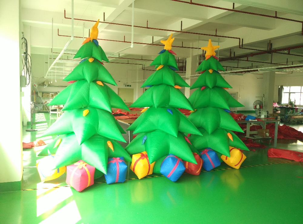 Factory sale 3m height outdoor inflatable Christmas tree with led light for santa party decoration(China (Mainland))