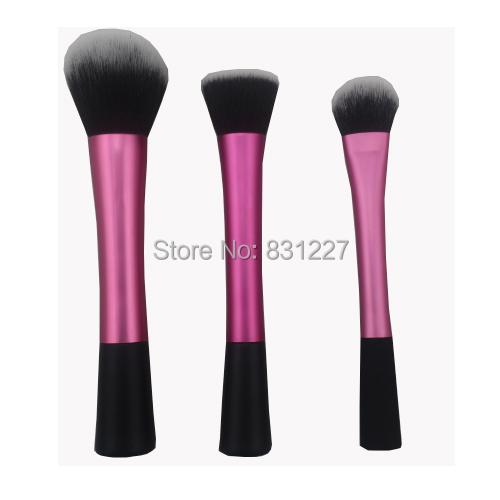 High Quality 3 pieces pink face makeup brush set powder blush contour foundation brush for face color cosmetics(China (Mainland))