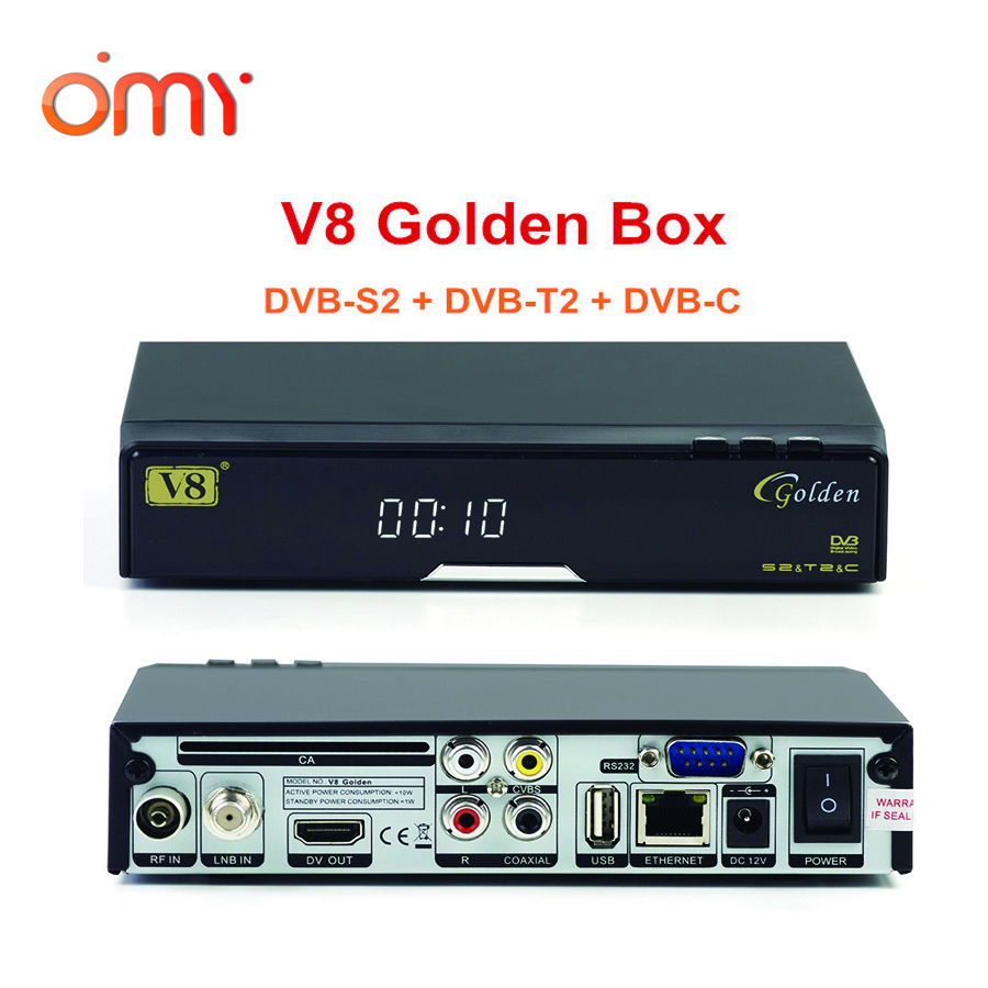 V8 Golden 1080P Full HD DVB-S2+ T2+ Cable Satellite TV Receiver Support Full PowerVu,3G usb dongle,Youtube,Youporn,Redtube ,DLNA(China (Mainland))