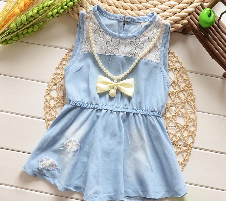retail 2015 new summer Baby girls Denim dresses blue kids dress sleeveless strap baby clothing for 3-6 years girls(China (Mainland))