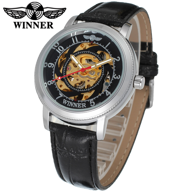 Fashion WINNER Men Luxury Brand Casual Skeleton Leather Band Watch Automatic Mechanical Wristwatch Gift Box Relogio Releges 2016(China (Mainland))