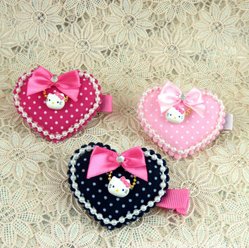 Hello Kitty Hair accessories latest Meng Department love shaped clamp fork hairpin children's headwear clip side us316(China (Mainland))