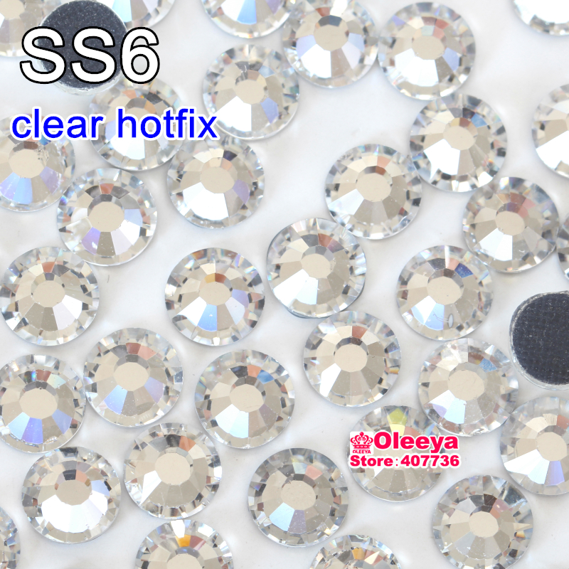 ss6 Approx 1440pcs Clear Crystal White DMC Hotfix Rhinestone Flatback Iron On Hot Fix Rhinestone For Transfer Motif Design Y2874(China (Mainland))