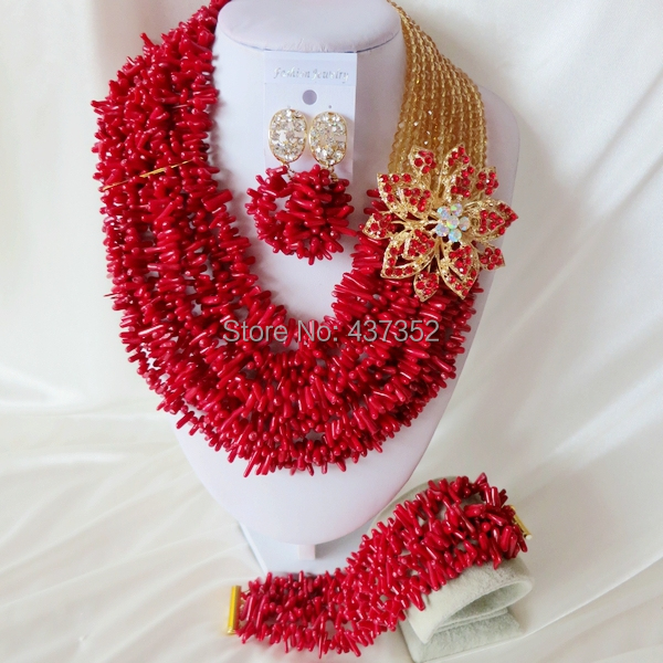 Handmade Nigerian African Wedding Beads Jewelry Set , Champagne Gold Crystal Coral Beads Necklace Bracelet Earrings Set CWS-435