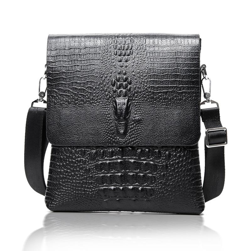 2016 NEW Vertical high quality pu leather men bag business casual alligator shoulder bag Messenger bag crocodile grain bag(China (Mainland))